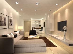 ,105平,12万,现代,三居,客厅,餐厅,白色,