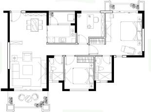 ,105平,12万,现代,三居,玄关,客厅,餐厅,卧室,厨房,书房,儿童房,卫生间,阳台,