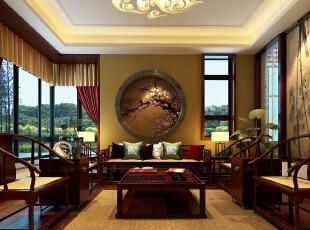 ,600平,300万,中式,别墅,客厅,原木色,
