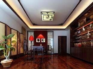 ,600平,300万,中式,别墅,书房,红木色,