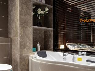 描述: 主卫拆掉墙体以玻璃和木制百叶代替,营造小资情调的一个洗浴空间。,250平,28万,中式,别墅,卫生间,灰白,