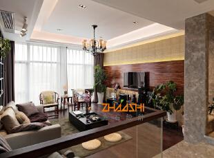 ,250平,28万,中式,别墅,客厅,原木色,