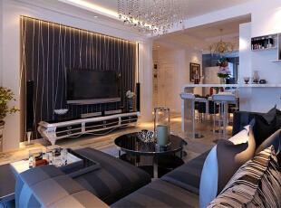 ,98平,8万,现代,两居,客厅,黑白,