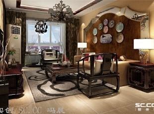 吊顶不仅是增加光源,还有对空间划分的功能,门厅的祥云图案,也增添了浓浓的中式韵味。,140平,9万,现代,三居,客厅,原木色,