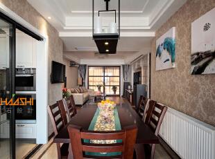 描述:紧凑的小空间合理布局,使得厨房更为实用。,110平,7万,中式,三居,餐厅,白色,