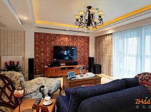 ,110平,8万,地中海,三居,客厅,暖色,