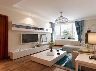 ,97平,8万,现代,两居,客厅,白色,