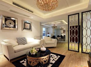 描述:浅色调为主题,穿插黑白色调。,130平,8万,现代,三居,客厅,春色,