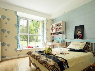 描述:热气球主题男孩房,打造儿童房自由快乐的成长空间。,130平,8万,现代,三居,儿童房,白蓝,
