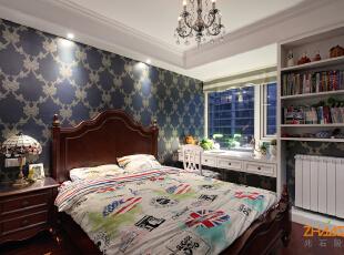 ,143平,10万,欧式,三居,卧室,白蓝,