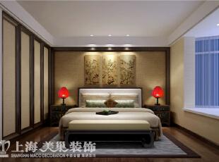 永威翡翠城7号楼130平方新中式装修案例效果图-卧室,130平,12万,中式,三居,卧室,黄白,
