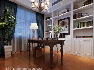 郑州橄榄城158平四室两厅简美风格装修效果图——书房装修效果图,158平,10万,美式,四居,书房,