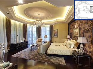 ,600平,50万,欧式,大户型,卧室,黄色,白色,棕色,