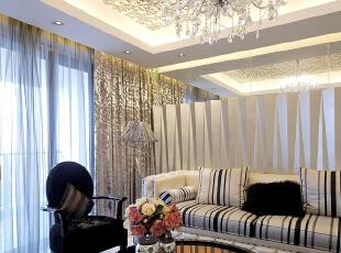,135平,8万,现代,三居,客厅,白色,