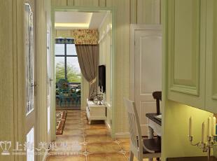 郑州盛润锦绣城83平两室两厅美式乡村风格装修方案——廊厅装修效果图,83平,6万,美式,两居,客厅,春色,