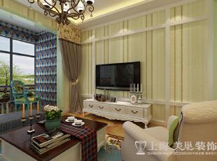 盛润锦绣城83平2室2厅美式乡村风格装修案例——电视背景墙装修效果图,83平,6万,美式,两居,客厅,白色,