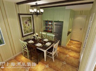 盛润锦绣城83平两室两厅美式乡村风格装修效果图——餐厅装修效果图,83平,6万,美式,两居,餐厅,白绿,