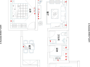 盛润锦绣城83平两室两厅美式乡村风格装修户型图,83平,6万,美式,两居,