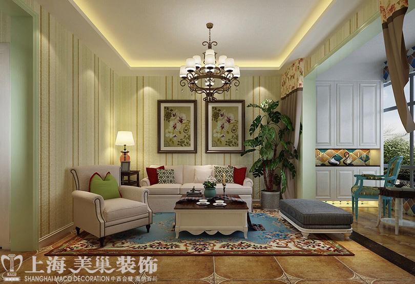 盛润锦绣城83平两室两厅美式乡村风格装修效果图