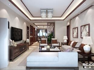 在家具选配上,采用具有东方特色的座椅,造型上简化了传统家具繁复的设计,融入现代化元素,使得家具线条更加圆润流畅。,135平,15万,中式,三居,客厅,白色,