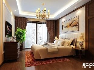 设计师以中式意象作为空间的风格,提炼东方元素的轮廓,结合平面直线的意态性质,加以中式形影相间的气氛意境,搭配以块面为型的软饰,演绎出具有东方特色的情调。,135平,15万,中式,三居,卧室,原木色,