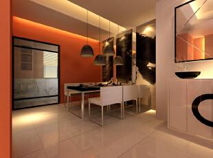 ,170平,15万,现代,四居,餐厅,橙色,白色,
