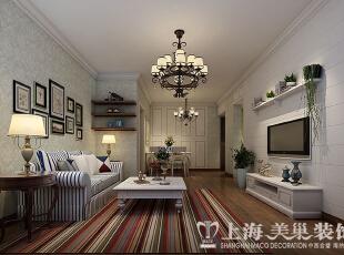 蓝堡湾89平两室两厅美式乡村风格装修方案——客厅装修效果图,89平,6万,美式,两居,客厅,白蓝,