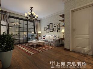 蓝堡湾89平两室两厅美式乡村风格装修案例——门厅装修效果图,89平,6万,美式,两居,客厅,白蓝,