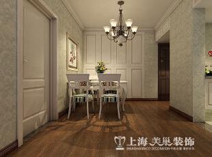 郑州蓝堡湾89平两室两厅美式乡村风格装修样板间——餐厅装修效果图,89平,6万,美式,两居,餐厅,白色,