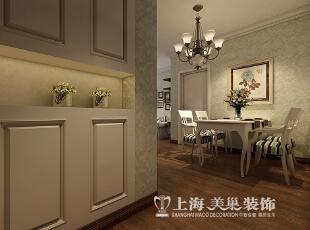 蓝堡湾89平2室2厅美式乡村风格装修效果图——门厅装修效果图,89平,6万,美式,两居,餐厅,餐厅,白色,