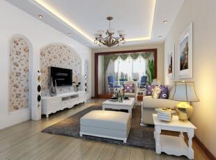 ,128平,10万,欧式,三居,客厅,白色,