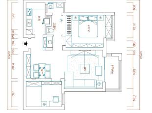 蓝堡湾89平两室两厅美式乡村风格装修户型图,89平,6万,美式,两居,