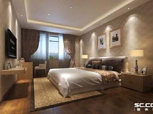 卧室设计: 轻装修重装饰就在这个空间完美体现。床头的造型与床头柜的搭配天衣无分,通过壁纸和墙漆来呈现整体的风格,一目了然,简单清晰,更有韵味。 亮点:床头背景的壁纸与床的色调浑然一体,层次分明,让这个空间显得温馨幸福。,143平,12万,现代,四居,