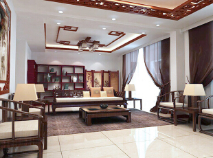 客厅设计: 案例户型为三室因居住人员较少故将与客厅相连的一室打通与客厅相连作为大的客厅会客区。宽敞明亮具有纵深感。客厅是传统与现代居室风格的碰撞,以现代的装饰手法和家具,结合古典中式的装饰元素,来呈现亦古亦今的空间氛围。,167平,15万,中式,四居,