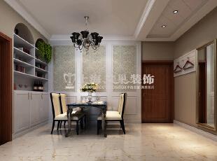 贰号城邦89平两室两厅简欧风格餐厅装修效果图,89平,6万,欧式,两居,餐厅,白色,