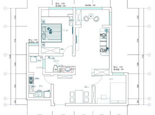 贰号城邦89平两室两厅简欧装修效果图案例——户型平面图,89平,6万,欧式,两居,