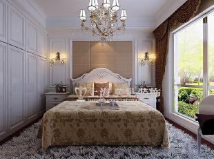 建业贰号城邦89平两室两厅简欧风格装修效果图:卧室,89平,6万,欧式,两居,卧室,暖色,