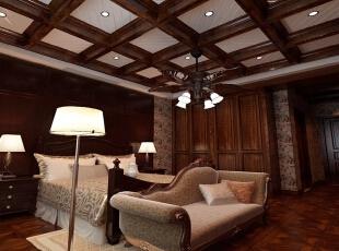 卧室设计: 卧室由于是睡觉休息的地方,所以以深色调为基准。,605平,90万,新古典,别墅,