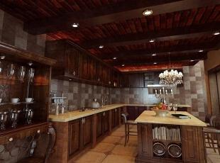餐厅设计: 餐厅及厨房因为地下室所以墙面主要以瓷砖,砂岩墙艺制作为主,楼梯平台的孔雀手绘墙更彰显了主人的品味。,605平,90万,新古典,别墅,