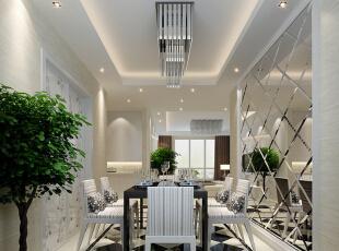 餐厅设计: 过过道的黑白色把餐厅和客厅分开,但也是黑白色让客厅和餐厅遥相呼应,保持整体的一致性。餐厅背景墙使用大面积的菱形镜面造型,配以宽边的挂镜线营造出现代且奢华的感觉,餐厅距离入户门比较近,还能当作穿衣镜使用,还有很强的实用性。,116平,9万,简约,两居,