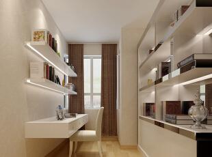 书房设计: 卧室是一套房子里最舒心最温暖的地方,一个安静舒适的卧室可以提高睡眠质量,提高工作和生活的效率,对心情的好坏也有一定的调剂作用。,116平,9万,简约,两居,