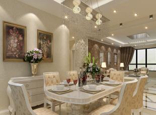 餐厅设计: 巧妙的灯光设计、精美的墙纸装饰、时尚的家居摆设,各种极其个性的色彩及元素的搭配,创造出的却是和谐、统一的装饰效果。可见设计师在整体设计思路上的驾御能力。界面的分隔讲究欧式古典的对称。,106平,8万,现代,两居,