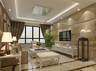 客厅设计: 运用不同元素,以现代手法创造出简约时尚、实用舒适的居住空间,整个空间的颜色沉稳而又不失灵动,大理石切边工艺彰显高贵、不落俗套。以黄白为主色调创造出空间的反差与对比,通过不同层次灰色的渗透,令空间的层次感更强。,106平,8万,现代,两居,