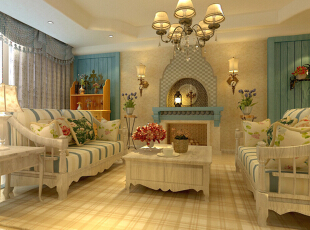 客厅设计: 客厅电视背景墙运用了地中海的元素在里头,用木头做旧的感觉衬托出田园与自然的亲切感。,141平,12万,田园,三居,