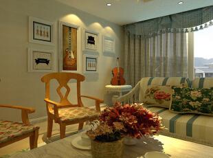 客厅设计: 客厅沙发背景用了点壁纸和整个家居相结合。,141平,12万,田园,三居,