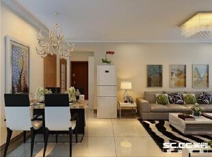 餐厅与卧室使用雕花隔断隔开,既空间划分明了,又突显主人格调优雅。,134平,9万,现代,三居,