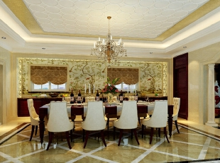 ,300平,30万,欧式,别墅,餐厅,黄色,