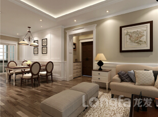 ,131平,4万,美式,三居,客厅,原木色,