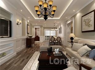 ,131平,4万,美式,三居,餐厅,客厅,原木色,