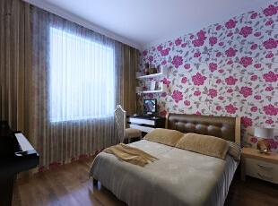 ,97平,11万,简约,两居,卧室,粉红色,白色,